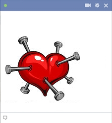 Stabbed Heart - Big Emoticon For Facebook